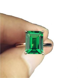 Men's Rings - Original Emerald stone ring 7.00 ratti gold plated ring ( Code - Red00033 )