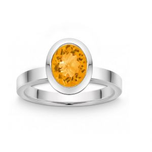 Gemstone Rings - Original Stone Citrine 6.25 Ratti Stone Silver Ring Lab Certified Stone Ring (Code- CEY0020)