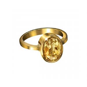 5.00 Ratti Natural Yellow Sapphire Ring Gold Plated( Code - Red00016 )