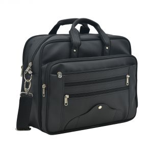 Aquador Laptop Cum Messenger Bag With Black Faux Vegan Leather - ( Code -ab-s-1447-black )