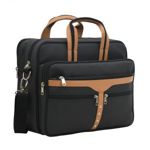 Aquador Laptop Cum Messenger Bag With Tan And Black Faux Vegan Leather- ( Code -ab-s-1448-tan Black )