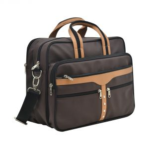 Aquador Laptop Cum Messenger Bag With Tan And Brown Faux Vegan Leather- ( Code -ab-s-1448-tan Brown )