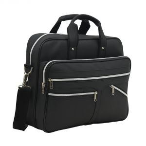 Aquador Laptop Cum Messenger Bag With Black Faux Vegan Leather- ( Code -ab-s-1460-black )