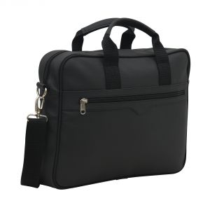 Aquador Laptop Cum Messenger Bag With Black Faux Vegan Leather - ( Code -ab-s-1462-black )