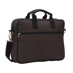 Aquador Laptop Cum Messenger Bag With Brown Faux Vegan Leather - ( Code -ab-s-1463-brown )