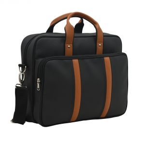 Aquador Laptop Cum Messenger Bag With Black Tan Faux Vegan Leather- ( Code -ab-s-1465-black Tan)