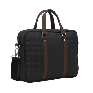 Aquador Laptop Cum Messenger Bag With Black Brown Faux Vegan Leather- ( Code -ab-s-1466-black Brown)