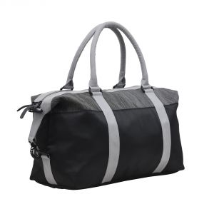 Travel Bags - AQUADOR Duffle bag with black and Grey PU leather (Code - AB-S-1477BlackGray)
