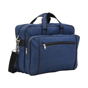 Aquador Laptop Cum Messenger Bag With Blue Canvas Leather- ( Code -ab-cl-1385b-blue)
