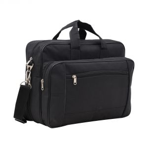 Aquador Laptop Cum Messenger Bag With Black Canvas Leather- ( Code -ab-cl-1385b-black)
