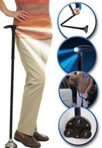Trusty Cane Walking Triple Head Pivoting Base With LED Light Multipurpose
