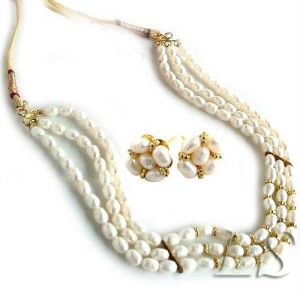 Jewellery 3 Line Choker Fresh Water Pearl Set
