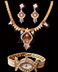 Fashion, Imitation Jewellery - Buy One Necklace Set & Get a Ladies Watch FREE