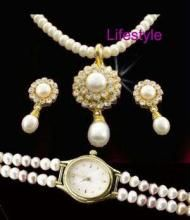 Stylish Fresh Water Pearl Set With Watch