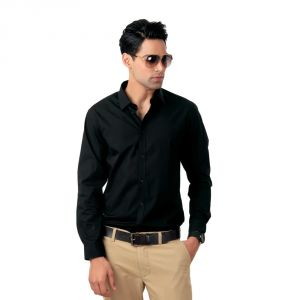 Black Party Wear Full Sleeves Shirt With Box Paking