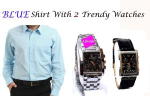 Blue Shirt With 2 Trendy Watches...105