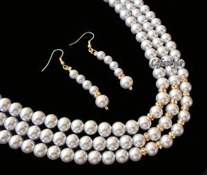 Designer Wear 3 Line Shell Pearl Set