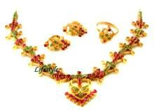 Semi Precious Jewellery Sets - Jewellery Gold Forming Pure Ruby Emeralds Set