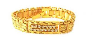 Jewellery - Hi Lifestyles Men's Gold Plated Bracelet With American Diamonds -- Admenbr1