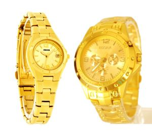 Gold Plated Couple Watch Combo