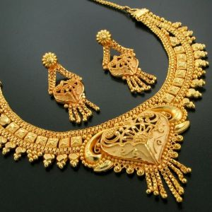 Necklaces (Imitation) - 24crt Pure Gold Forming Heavy Party Wear Set for Gifting