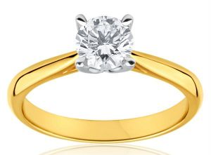 22crt Gold Plating Solitaire American Diamond Ring