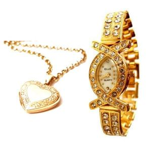 Heart Photo Pendant With Gold Plated Watch