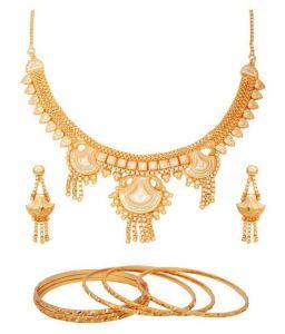 Necklace Sets (Imitation) - Hi Lifestyles Gold Plated Necklace Set With 6 Gold Plated Bangles1