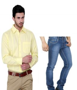 The Very Stylish Combo Yellow Shirt With Blue Jeans For Men--yellowshjeans