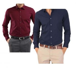 Buy Maroon Shirt & Get Navy Blue Shirt Free - Lsmnb2