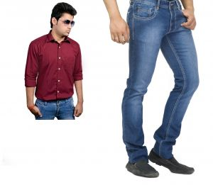 Buy Branded Blue Jeans And Get Maroon Full Sleeves Shirt Free...hijs9
