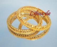 Gold Forming Jewellery Ethnic Kada (pair)