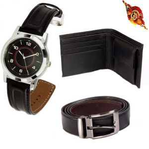 Rakhi Gift Hampers (for Brothers in India) - Rakhi Gifts - Combo Of Leather Wallet And Belt With Smart Analog Wrist Watch