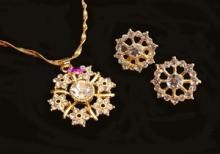 Exclusive Nakshatra Pattern Cz Diamond Pendant Set In Gold Plating Chain