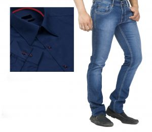 Jeans (Men's) - Buy Branded Blue Jeans And Get Navy Blue Full Sleeves Shirt Free...hijs5
