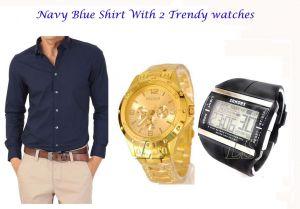 Formal Shirts (Men's) - Stylish NAVY BLUE Shirt  2 Trendy Watches 103