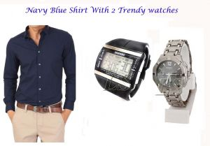 Stylish Navy Blue Shirt 2 Trendy Watches 111