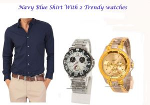 Stylish Navy Blue Shirt 2 Trendy Watches 115