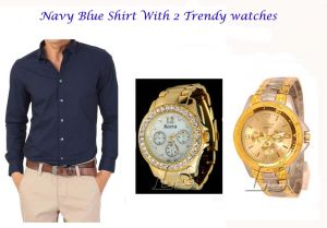 Stylish Navy Blue Shirt 2 Trendy Watches 119