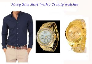 Stylish Navy Blue Shirt 2 Trendy Watches 120