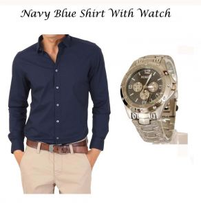 Stylish Navy Blue Shirt With Stylish Watch 105