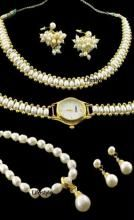 Pearl Jewellery Sets With Matching Watch & Ring