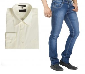 Buy Branded Blue Jeans And Get Off White Full Sleeves Shirt Free...hijs7