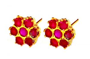 Semi Precious Earrings - SIZZLING PURE RUBY STUDS AT SIZZLING PRICES