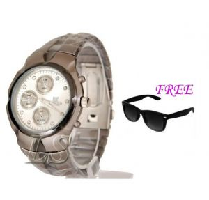 Free Sun Glasses With Stylish Watch For Men Sfgw10