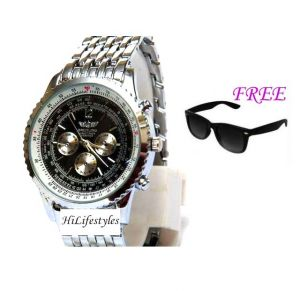 Free Sun Glasses With Stylish Watch For Men Sfgw20