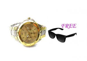 Free Sun Glasses With Stylish Watch For Men Sfgw23
