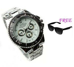 Free Sun Glasses With Stylish Watch For Men Sfgw28