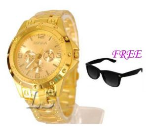 Free Sun Glasses With Stylish Watch For Men Sfgw32