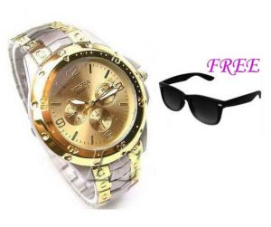 Free Sun Glasses With Stylish Watch For Men Sfgw34